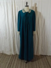 Vtg 60s Classy Teal Felt Dainty Lace Front Zip Robe 14 Nightgown Lounge Dress
