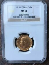 INDIA 1918 ONE GOLD SOVEREIGN NGC MS64