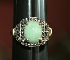 Vintage Sterling Silver, Variscite and Marcasite Ring size 7-7.5 Stamped