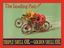 Shell Oil Motorbike Motorcycle Vintage Racing Old Garage Small Metal/Tin Sign