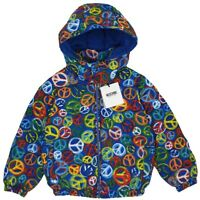 NEW MOSCHINO RRP £379 Multicolour Peace Puffer Padded Jacket Coat 4 YEARS A405