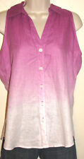 INC Violet Ombre Button-Down Sleeveless 100% Linen Shirt Size 4