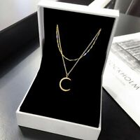 2021 Gold Moon Letter C Crystal Zircon Necklace Double Layer Clavicle Women Gift
