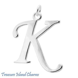 Script Letter K Initial 925 Solid Sterling Silver Charm Pendant MADE IN USA