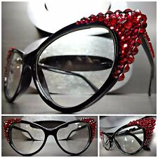 VINTAGE CAT EYE Style Clear Lens EYE GLASSES Black Frame - Red Crystals Handmade