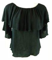 Cha Cha Vente Solid Black Short Sleeve On/ Off Shoulder Shirt Women's Sz Small Z