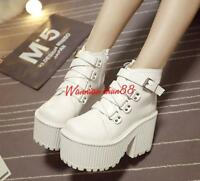 womens lady gothic punk ankle boots buckle strap platform high chunky heel shoes