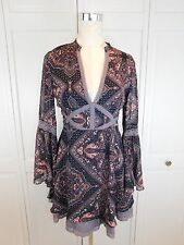 Free People Brown Paisley Lace Embroidered Layered Boho Hippie Dress 6 Medium