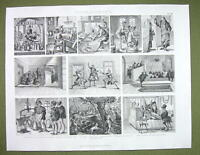 TRADES in Middle Ages Barber Doctor Fencing Scribe etc - 1870s Engraving Print