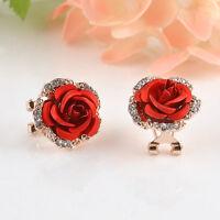 Elegant Fashion Cute women Lady Crystal Rhinestone Rose Flower Stud Earrings