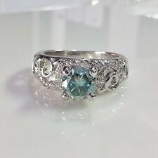 Sterling Silver Vintage Engagement Wedding Ring 6.5 mm Blue Round Moissanite 925