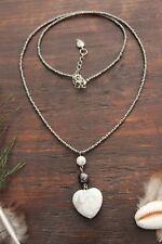 Beautiful Handmade Silver Glass Bead & Howlite Love Heart Stone Pendant Necklace