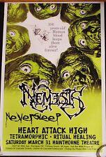 Original Rare Nemesis Concert Poster Portland Heart Attack High Zombies