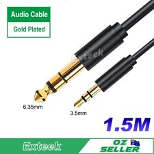3.5mm Male Jack to 6.35mm 1/4 inch Stereo Audio AUX  Plug Connector Cable 1.5M