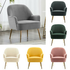 Nordic Velvet Tub Chair Barrel Seat Armchair Wing Back Sofa with Gold Metal Legs