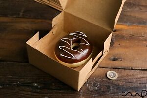 "10 x 5""  Square Kraft Gift Box Food Safe Packaging Folding Flatpack Wedding Eco"
