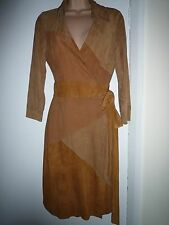 DVF Diane Von Furstenberg robe portefeuille peau de chèvre en cuir et daim marron Selma RRP £ 700