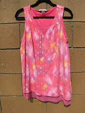 Peter Nygard Womens 1X  Pink Spring Nylon Net Lining Sleeveless Tunic Blouse *