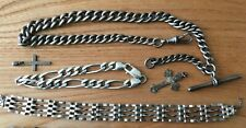 79.67g STERLING SILVER 925 ANTIQUE FOB CHAIN, CURB BRACELET SCRAP OR WEAR