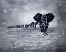 100%HAND-PAINTED ART ACRYLIC OIL PAINTING ABSTRACT Animal elephant 40x50cm
