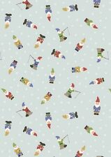 Fat Quarter Garden Gnomes Blue Grandma's Garden 100% Cotton Quilting Fabric