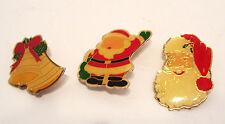 3 Christmas Brooch Enamelled Pins Vintage