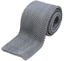 Wolf Grey Slim Knitted Tie Silver Skinny New Waffle Woven Cotton tk1a