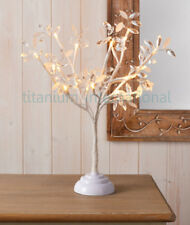 Jewelled Frosted Snow Twig/Leaf Tree/Pre-lit/20 LED White Lights table Lamp