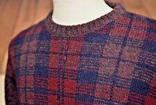The Moors Sz L Shetland Wool Crew Neck Sweater Lord Jeff Ireland Red Navy Plaid