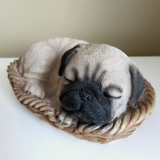 PUG PUPPY IN WICKER BASKET Figurine Decoration Gift Resin 6.25 in.New  BROWN
