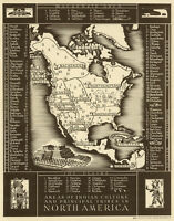 Vintage North America Map of Native Indian Tribes CANVAS PRINT  A3