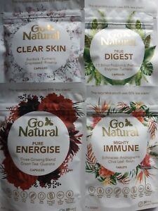 (4xdifferent )Go Natural - 30 Plant Based Capsules- Digest+ Skin+ Immune+ Energy