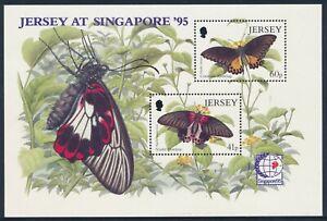 1995 JERSEY BUTTERFLIES & SINGAPORE '95 MINI SHEET FINE MINT MNH