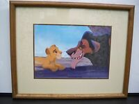 SIMBA AND SCAR DISNEY LITHOGRAPH PICTURE 1994 OAK FRAME