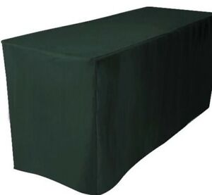 5' ft. Fitted Polyester Table Cover Trade show Booth DJ Tablecloth Hunter Green