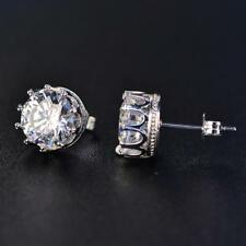 Earrings 14K White Gold Filled Jewelry 1.5 Ct Round Cut Moissanite Crown Stud