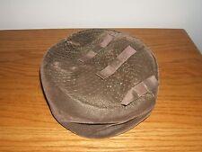 Vintage Green Velvet Ribbon Bow Top Pillbox Design Hat w/Netting