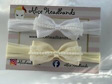 Baby Girl White or Ivory Christening Headband Baptism Wedding Bow Hairband Pearl