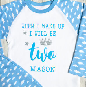 Second Birthday Personalised Boys Pyjamas When I Wake Up I Will Be Two Pjs 2