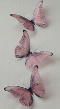 10 Sparkling Pink Champagne 3D Wedding Bedroom Butterflies Table Decorations