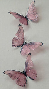 10 Butterflies Pink Champagne 3D Wedding Bedroom Sparkling Table Decorations