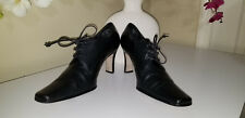 SAM & LIBBY COLLETA Black Leather Lace Up Dress High Heels Bootie Shoes Sz.8 M