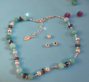 AN06 925 Sterling Silver chain Anklet Handmade Unique singular ladies Gems Gift