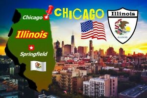 Chicago, Illinois, USA Mappa - Souvenir Novità Calamita Frigo - Viste / Regalo