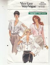 Vogue 7674 Blouse Loose Fit Variations Easy Sewing Pattern Sizes 12-16 Uncut