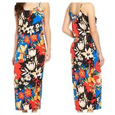 Very Simply Fab Plus Size 24 Multi Floral Print Strappy Maxi DRESS Holiday £45