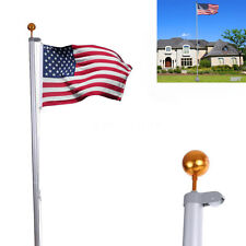 20FT Sectional Aluminum Flagpole+1 US American USA 3'x5' Flag Pole Gold Ball Kit