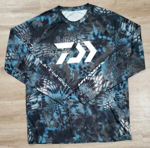 Huk Mens Shirt Size XL Daiwa Kryptek Blue Black