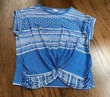 Women's LUCKY BRAND Size Medium Blue Peasant Top Shirt
