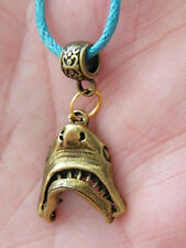 "SHARK Necklace GREAT WHITE SHARK! JAWS Mouth Open & Close! Bronze 17.5-19.5"" NEW"